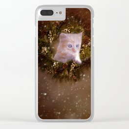 Christmas kitten watching the snow Clear iPhone Case
