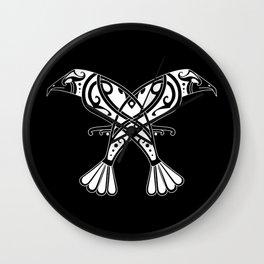 Huginn and Muninn- Two Ravens Wall Clock