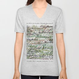 All The Presidents Signatures Green Sepia Unisex V-Neck