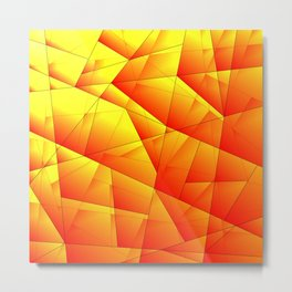 Bright pattern of red and yellow triangles and irregularly shaped lines. Metal Print