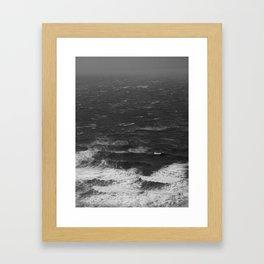 Black and White Waves Framed Art Print