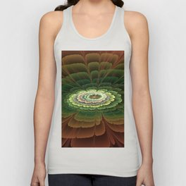 Abstract Flower Brown And Green, Fractal Art Unisex Tank Top