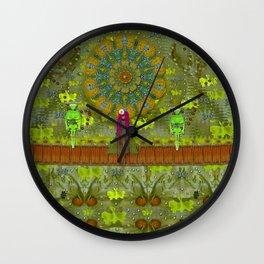 Meditative Garden got visit of lady panda and the floral skulls Wall Clock