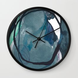 Dark Night: an explosion of color and abstract marks Wall Clock