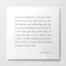 Psalm 40:1-3  I waited patiently for the Lord Metal Print