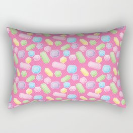 Colorful Doodle Gems Pattern on a Bright Pink Background Rectangular Pillow