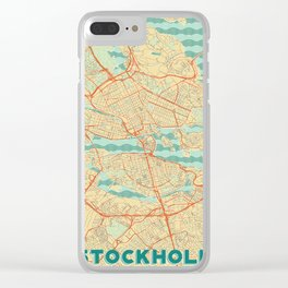 Stockholm Map Retro Clear iPhone Case