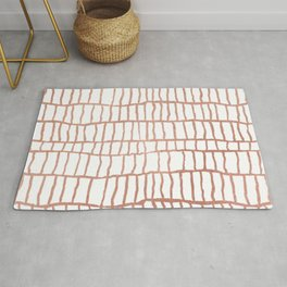 Abstract geometrical faux rose gold stripes Rug