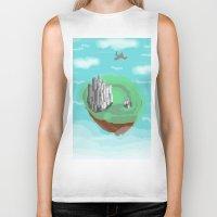 castle in the sky Biker Tanks featuring Sky Castle by wkdowd