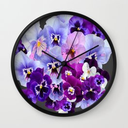 GREY VARIEGATED SPRING COLLECTION  PANSIES Wall Clock