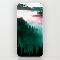 mountains iPhone & iPod Skins featuring Misty Mountains Morning : Magenta Mauve Teal by 2sweet4words Designs