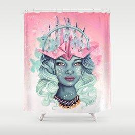 Tsuru Origami Girl Shower Curtain