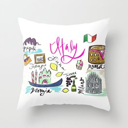 Italy Icons   Italy Travel   Italy Drawing Throw Pillow