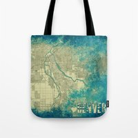 denver Tote Bags featuring Denver by Artsy B