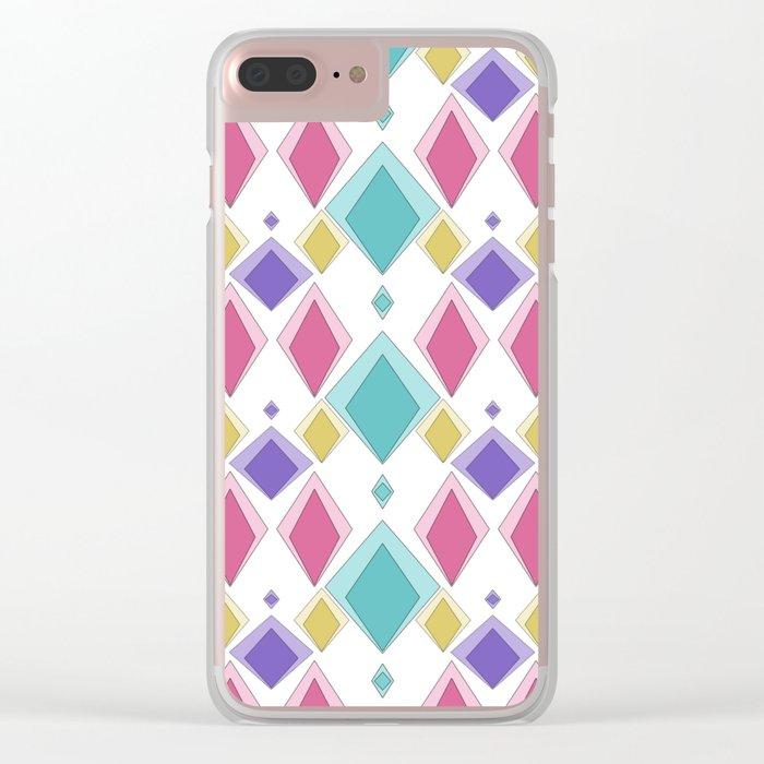 Multi-colored diamonds . Retro . Clear iPhone Case