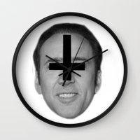 nicolas cage Wall Clocks featuring Nicolas Cage // FA$HION by Jared Cady