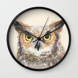 Great Horned Owl Watercolor Wall Clock