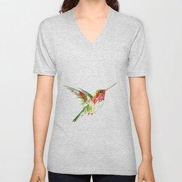 Hummingbird flying bird decor Unisex V-Neck