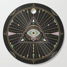 Evil Eye Mandala – Black Cutting Board