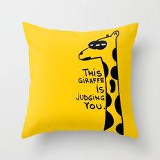 Judging Giraffe Throw Pillow