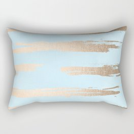 Abstract Paint Stripes Gold Tropical Ocean Sea Turquoise Rectangular Pillow