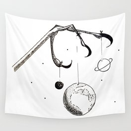 Queen of the Planets - Black Ink Wall Tapestry