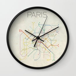 Minimal Paris Subway Map Wall Clock