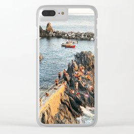 Cinque Terre rock swim Clear iPhone Case