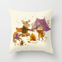 fall Throw Pillows featuring Critters: Fall Camping by Teagan White