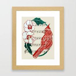 The Birds Chorus  ( Cardinal and Rose of Sharon) Framed Art Print
