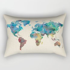 World Map Watercolor Linen Blue Red Yellow Green Rectangular Pillow