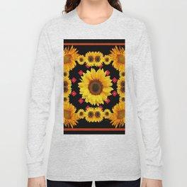 Black Western Blanket Style Sunflowers Long Sleeve T-shirt