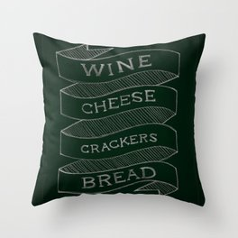wine & cheese & crackers & bread Throw Pillow