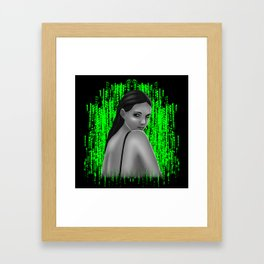 Girl in the green spotlight. Digital painting of a brunette with green eyes. Framed Art Print