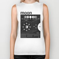 moon Biker Tanks featuring Phases of the Moon infographic by Nick Wiinikka