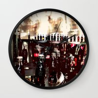 it crowd Wall Clocks featuring Crowd by YM_Art by Yv✿n / aka Yanieck Mariani
