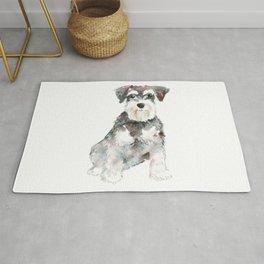 Miniature Schnauzer dog watercolors illustration Rug