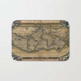 Antique Map of North and South America Bath Mat