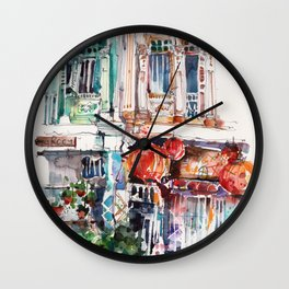 Shophouse Windows at Bukit Pasoh, Singapore Wall Clock