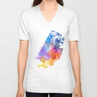 jazzberry blue V-neck T-shirts featuring Sunny Leo   by Robert Farkas