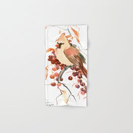 Cardinal and Berries Hand & Bath Towel