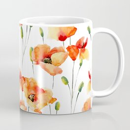Hand Painted orange yellow watercolor poppies floral Coffee Mug