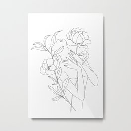 Minimal Line Art Woman with Peonies Metal Print