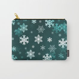 Dark Green Snowflakes Carry-All Pouch