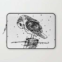 Owl on a Fencepost in the Snow Sketch in Black and White Laptop Sleeve