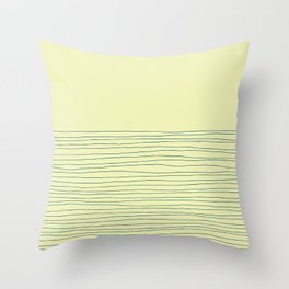 Hand Striped Lemon Blue Throw Pillow