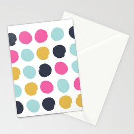 Polka dots abstract minimalist bright happy positive art painting painterly dots Stationery Cards