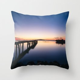 Sunset at Montevideo bay Throw Pillow
