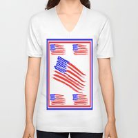 american flag V-neck T-shirts featuring American Flag by Art by Samantha Perez