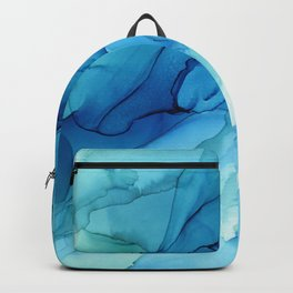 Emerald Sea Waves - Abstract Ombre Flowing Ink Backpack